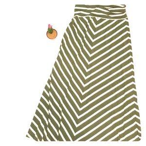 Mossimo maxi skirt hunter green cream stripe Long